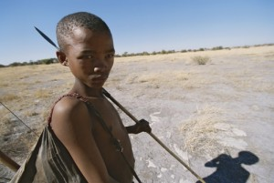 A San Bushman boy with a spear.